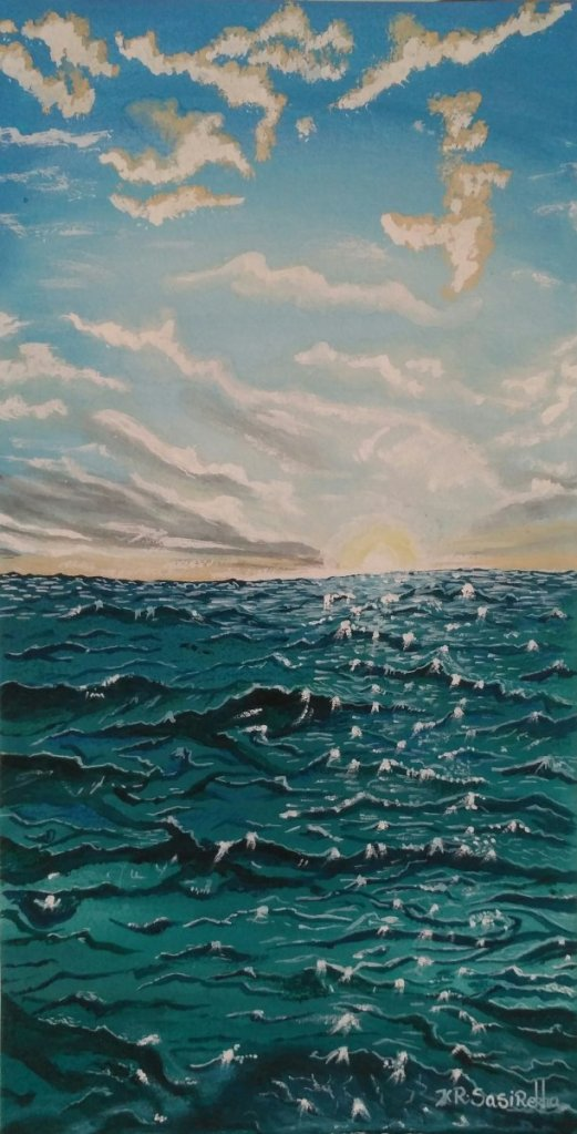 Magic was not in glitter. see this glitter Ocean painting how it is beautiful.. Nature is a wonderfu
