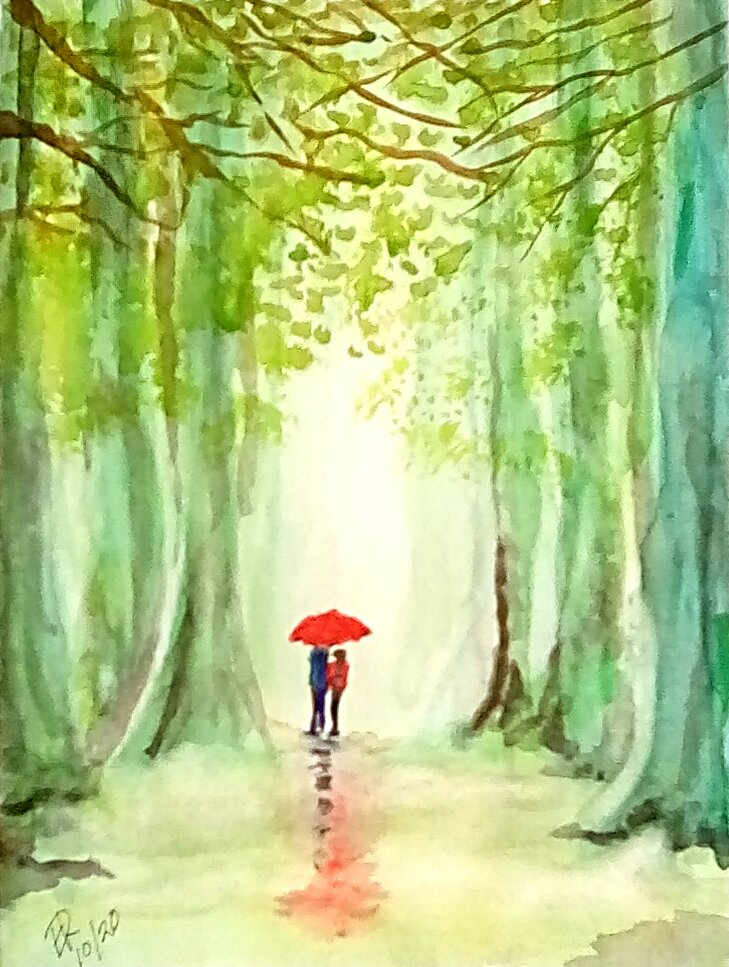 """Today's watercolor challenge """"Wet"""". A good day to walk in a wet and drizzle forest"""