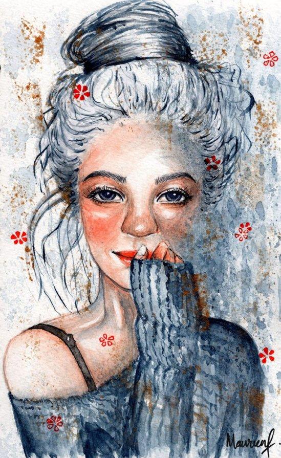 Selfie2020 Watercolor Portrait Maureen Fletcher