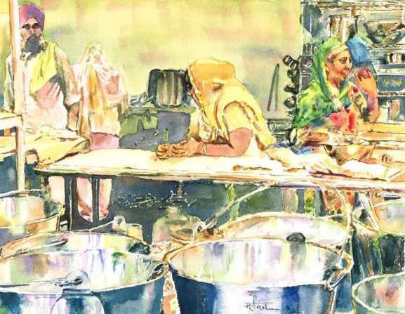 Seva (Selfless Service) watercolor by Megha Mehra