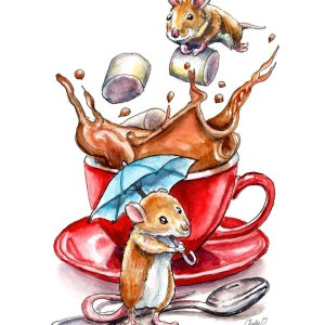 Two-Mice-Making-Hot-Cocoa-Chocolate-Red-Mug-Watercolor-Illustration-Paintin_printfile_detail