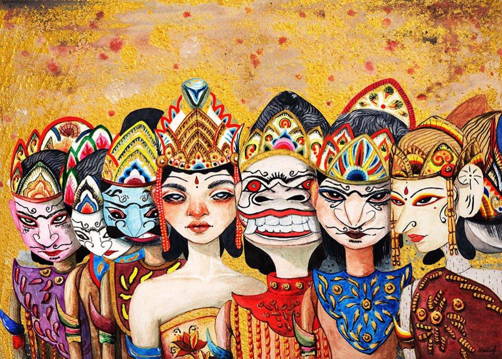 Wayang Golek Watercolor Painting by Maureen Fletcher
