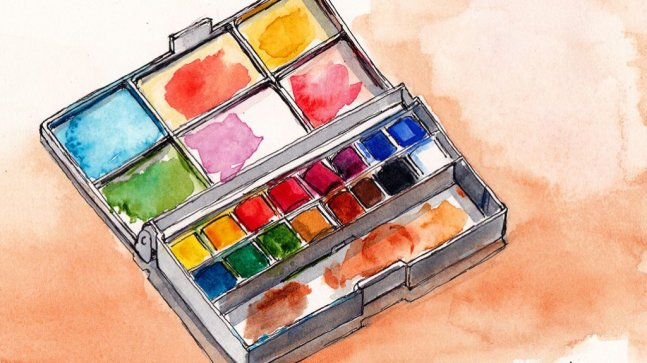 Watercolor Palette painting by Kris DeBruine