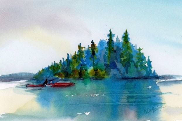 Chuckanut Island Paddle studio watercolor painting