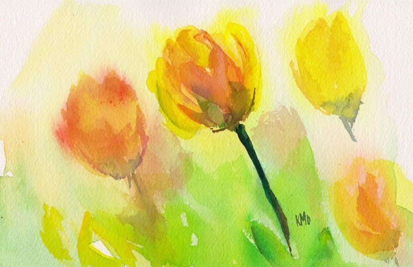 Tulips studio Watercolor Painting