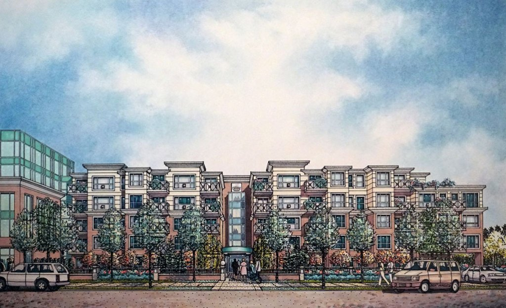 RESIDENTIAL DEVELOPMENT ON OAK STREET Watercolor Architectural Drawing