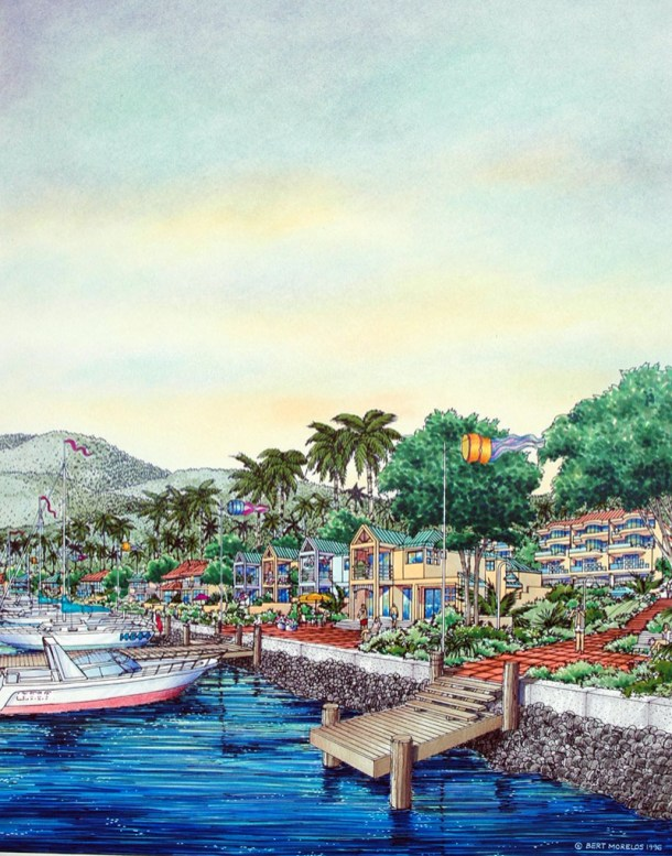 WATERFRONT RESIDENTIAL DEVELOPMENTS Watercolor Drawing Painting by Bert Morelos