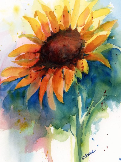 Sunflower studio Watercolor Painting by Kris DeBruine