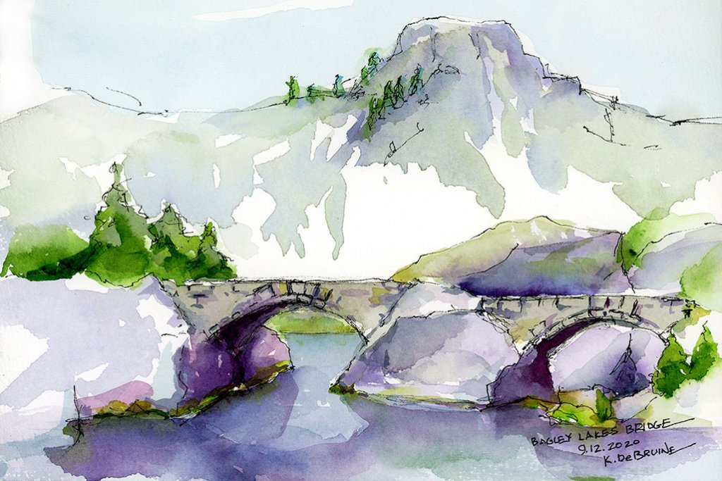 Bagley Lake sBridge 2020 studio watercolor by Kris DeBruine