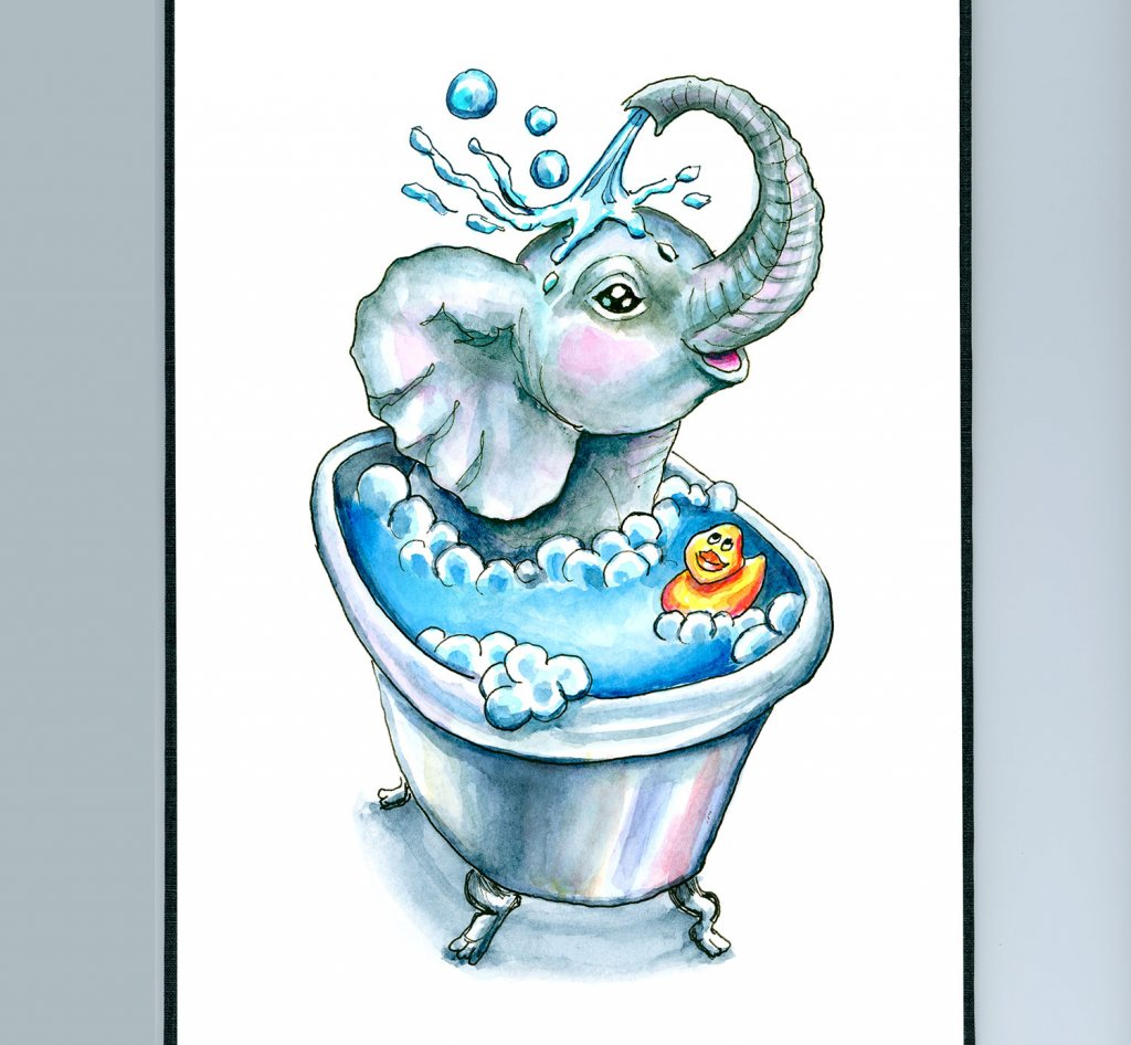 Baby Elephant Bath In Bathtub Bathtime Watercolor Illustration Painting Sketchbook Detail