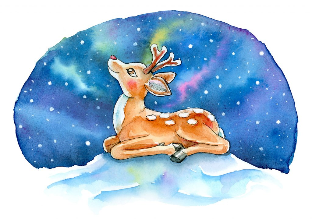 Baby Reindeer Red Nose Northern Lights Watercolor Illustration Painting