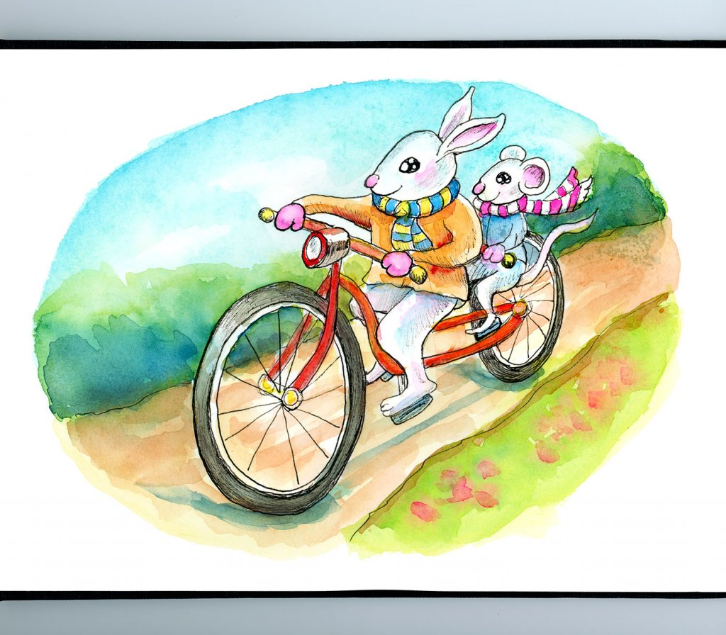 Tandem Bicycle Built For Two Rabbit Mouse Watercolor Illustration Painting Sketchbook Detail