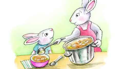 Chicken Soup Rabbits Bunnies Chidlrens Book Watercolor Illustration Painting