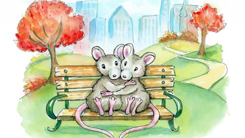 City Park Two Mice Sitting On Bench Cityscape Autumn Watercolor Illustration Painting