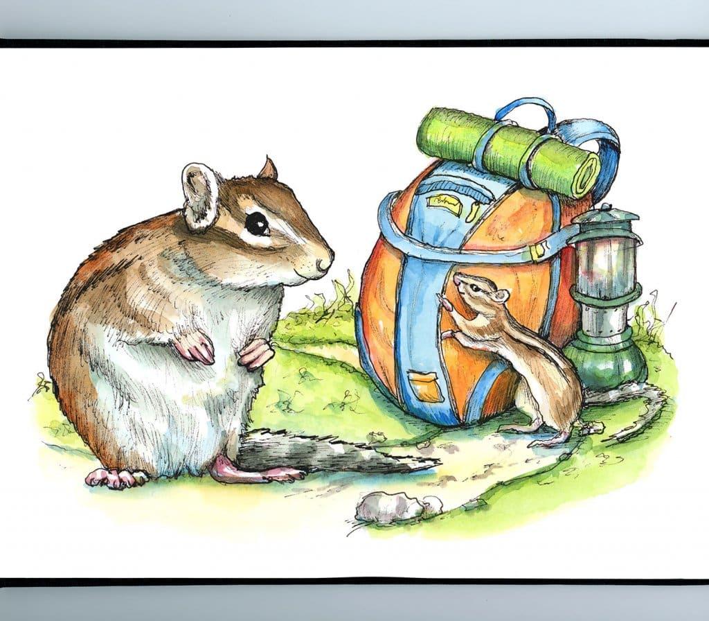 Hiking Trail Backpack Lantern Chimpmunks Watercolor Illustration Painting Sketchbook Detail