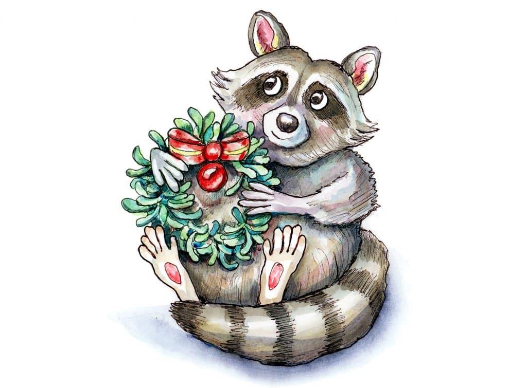 Raccoon Holiday Christmas Wreath Rosemary Watercolor Illustration Painting