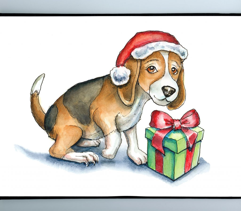 Puppy Dog With Christmas Present Watercolor Illustration Painting Sketchbook Detail