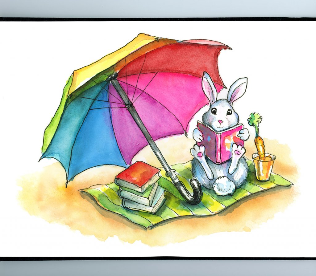 Beach Read Rabbit Reading Book Umbrella Watercolor Illustration Painting Sketchbook Detail