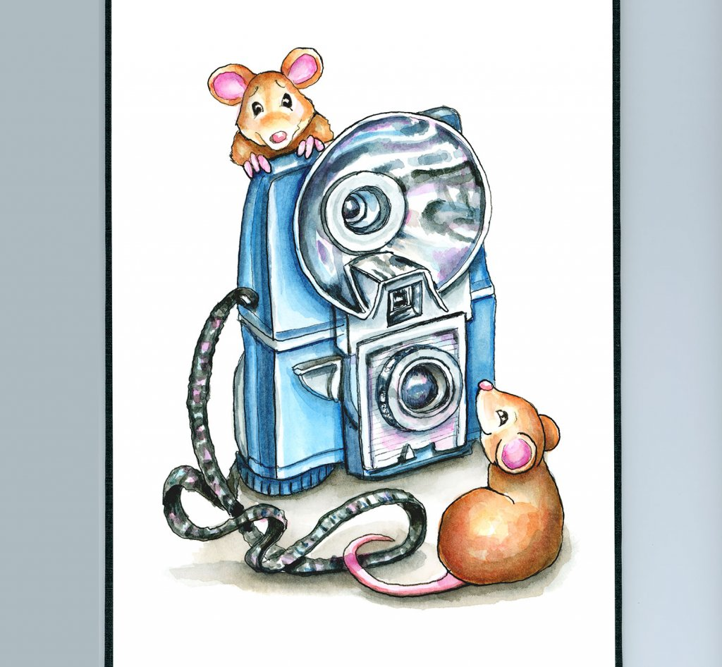Vintage Camera Two Mice Children's Watercolor Illustration Painting Sketchbook Detail