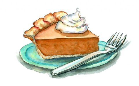 Pumpkin Pie Fork Whipped Cream Happy Thanksgiving Watercolor Illustration Painting