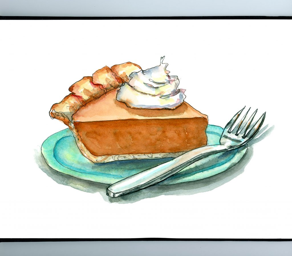 Pumpkin Pie Fork Whipped Cream Happy Thanksgiving Watercolor Illustration Painting Sketchbook Detail