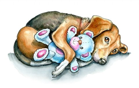 Dog Holding Teddy Bear Beagle Cute Watercolor Illustration Painting