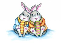 Two Bunnies Cuddling Scarf Winter Snow Watercolor Illustration Painting