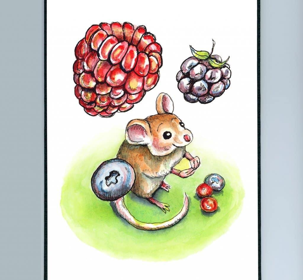 Falling Berries Mouse Watercolor Illustration Painting Sketchbook Detail