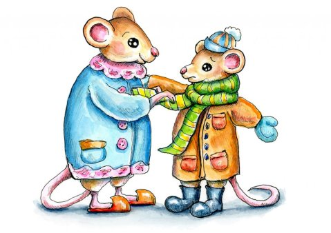 Mouse Mice Mother Child Winter Coat Watercolor Illustration Painting