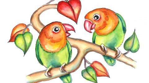 Lovebirds Love Couple Watercolor Illustration Painting