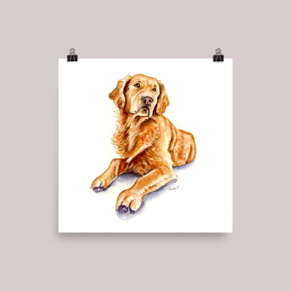 Golden-Retriever-Watercolor-Illustration_Signed_mockup_Transparent_Transparent_10x10 Watercolor Print