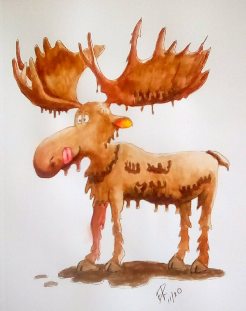 """Today's watercolor challenge """"Chocolate"""" . So I give you a chocolate moose. IMG_20"""
