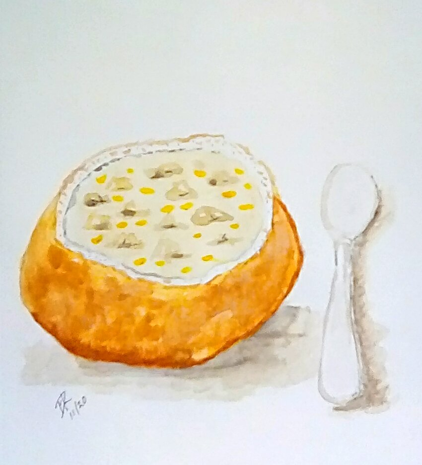 "Today's watercolor challenge ""Soup"". There is nothing better than a bread bowl of"