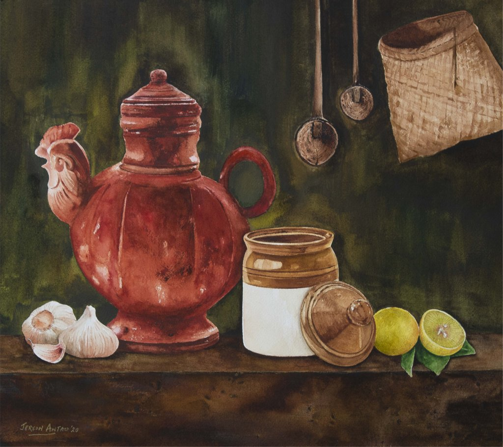 """Granny's Kitchen"""" Watercolour on Arches 300gsm cold pressed paper Size 40 X 45 cms Jerso"""