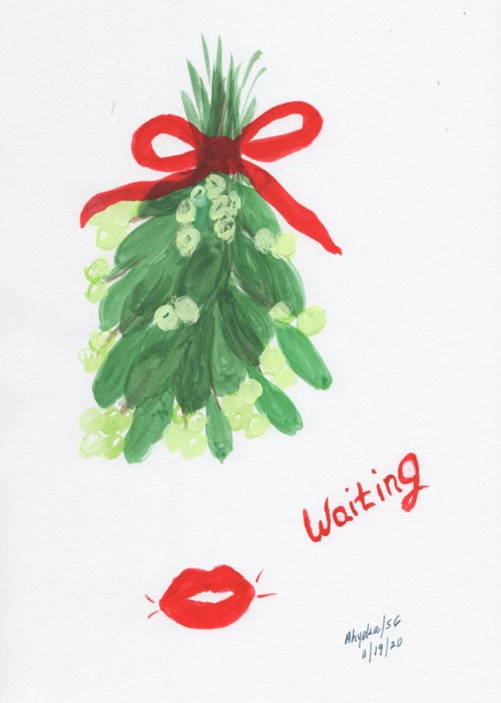 Just a little Christmas watercolor whimsy MISTLETOE & L;IPS