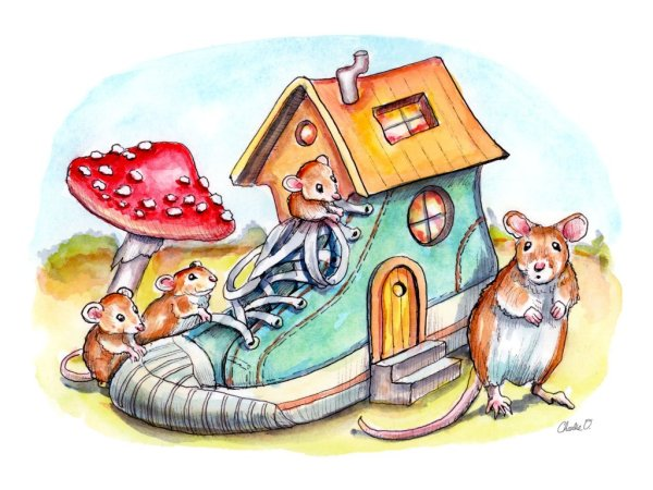 Mice-Mouse-Who-Lived-In-A-Shoe-House-Watercolor-Illustration-Painting-Print Detail