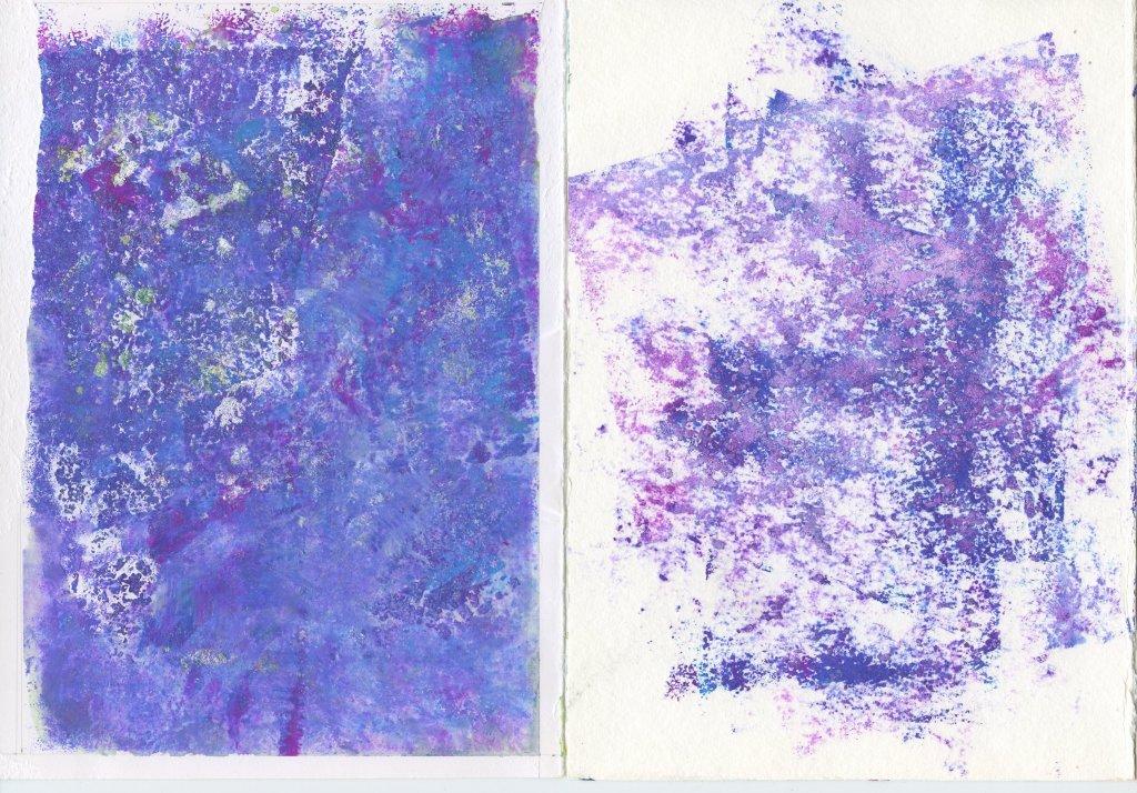 Purple gouache monoprint textures