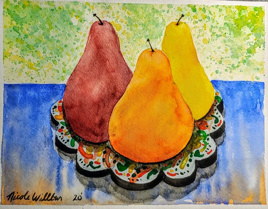 Challenge #10 Fruit. Pears sitting on a Turkish ceramic plate. Pears