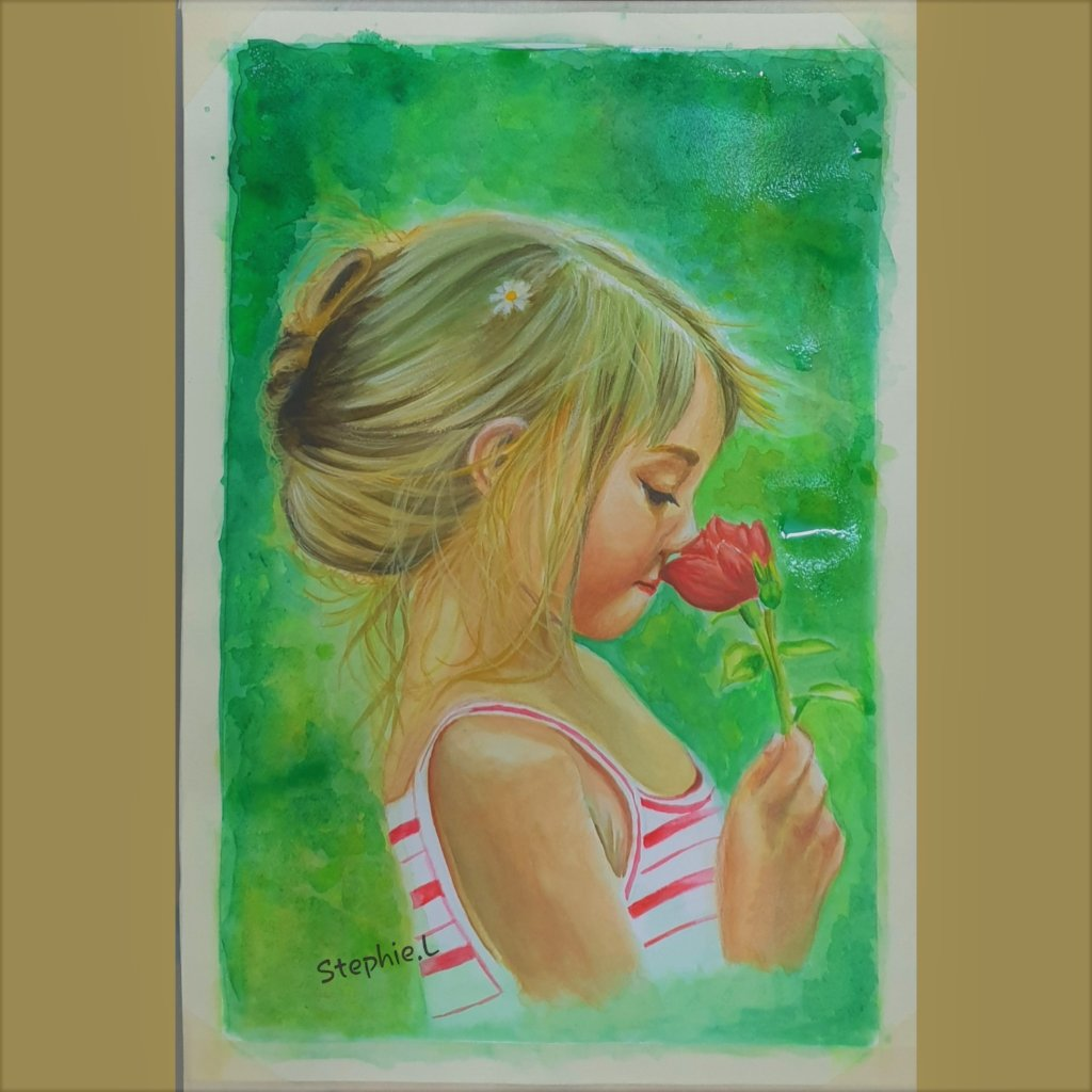 Freshly painted in watercolour. Smell the roses Roses
