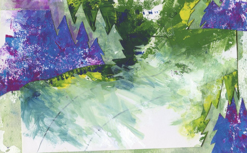 Monoprint Printing Plate Gouache Painting Example 2