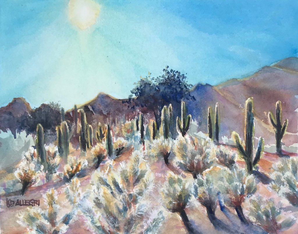 """""""Sun Worshippers,"""" Watercolor. I took my reference photo on a hike through the San Tan M"""
