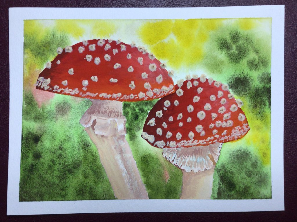 #doodlewashNovember2020 Mushrooms! First time trying gouache – on the mushrooms – the re