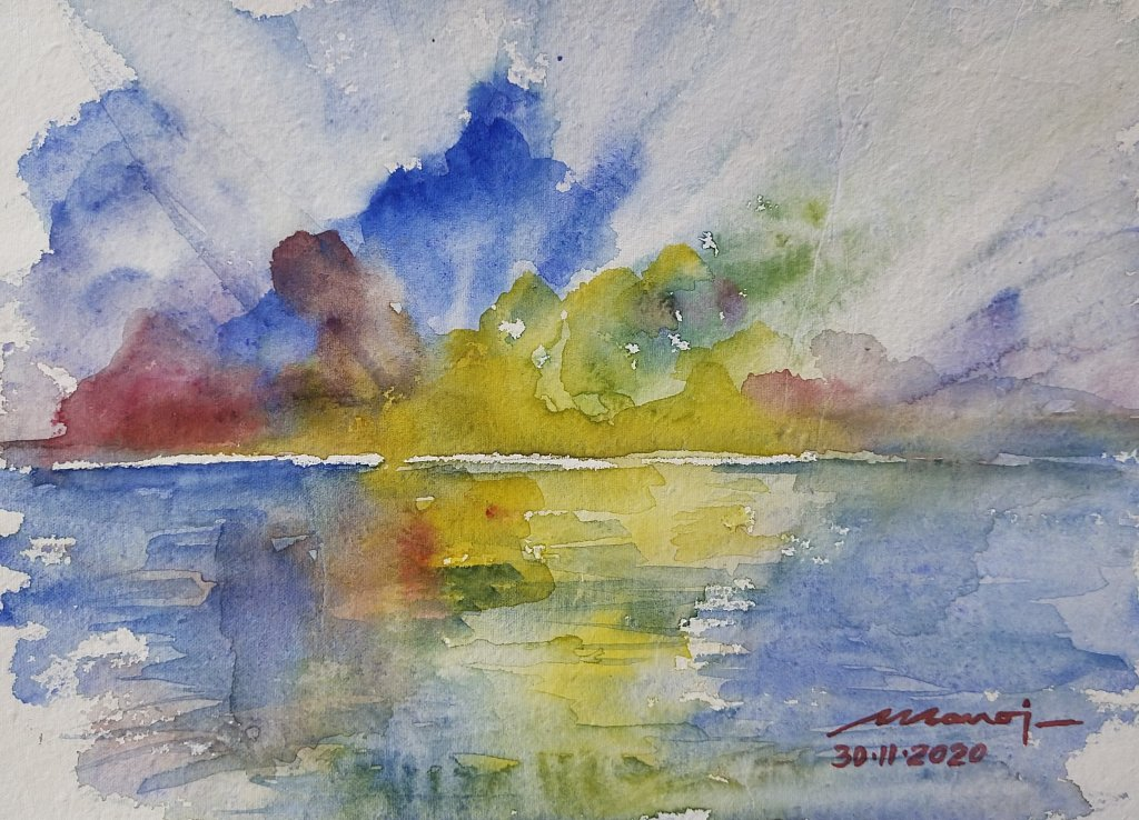 Dt: 30.11.2020 Sub: SUNRISE Watercolor painting on handmade paper inbound5788407632858816498