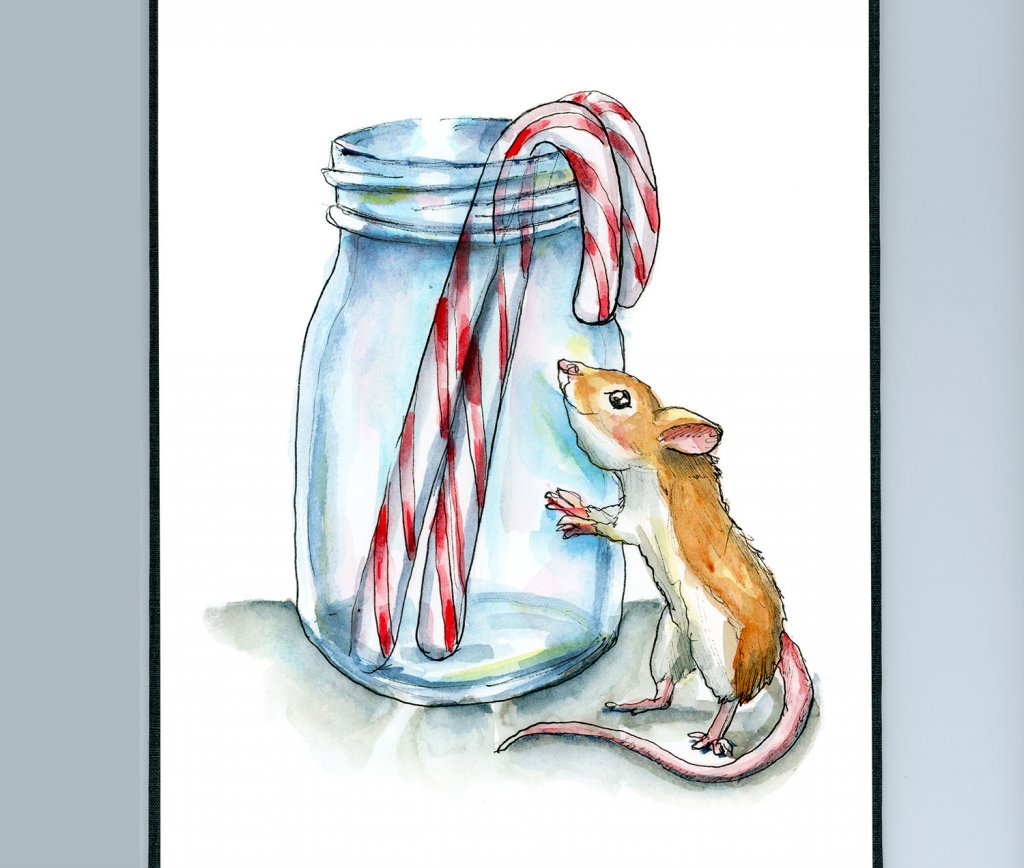 Mouse Candy Canes Mason Jason Watercolor Illustration Painting Sketchbook Detail