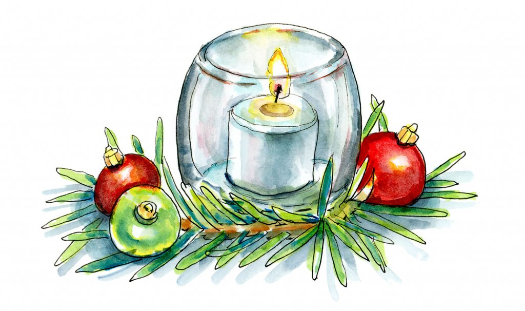 Christmas Candle Pine Ornaments Watercolor Illustration Painting