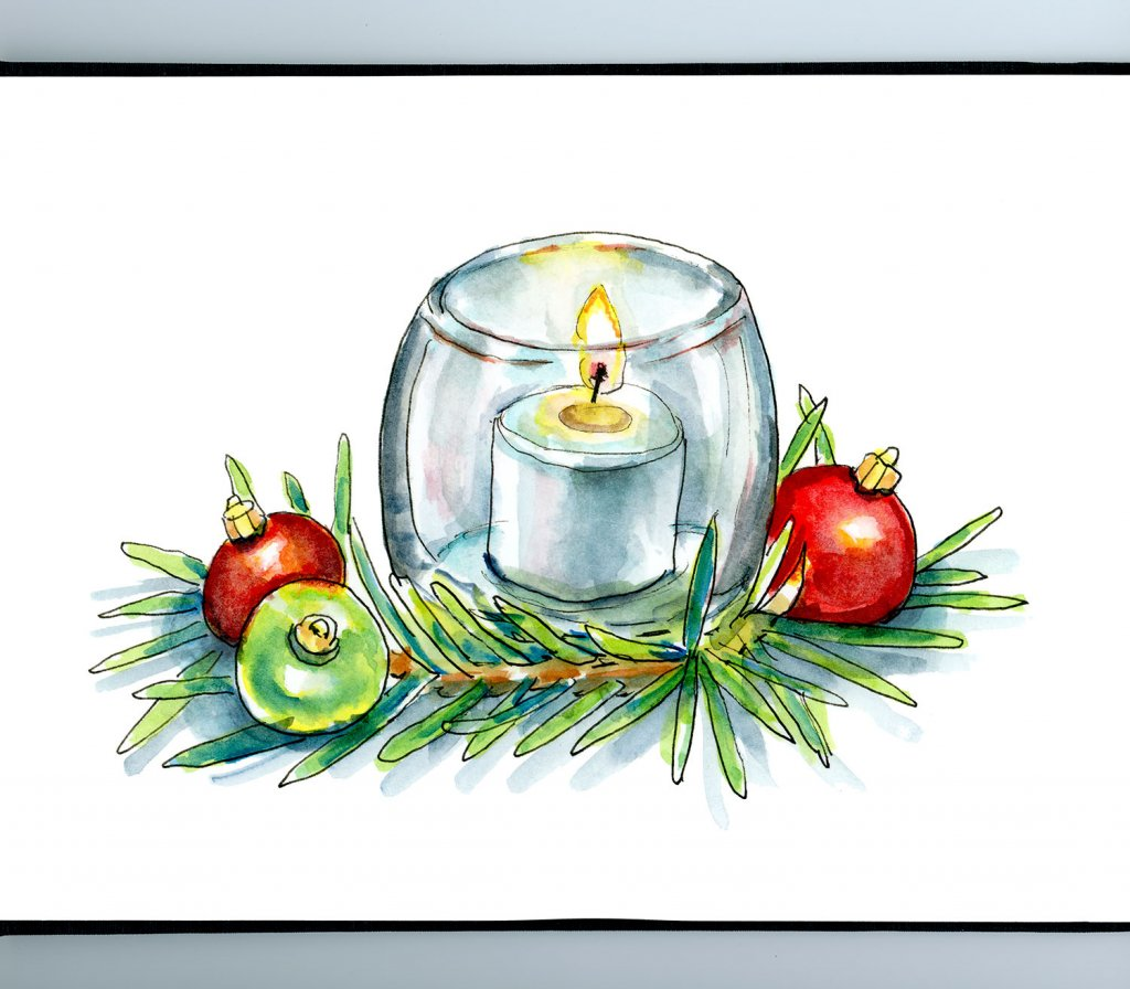 Christmas Candle Pine Ornaments Watercolor Illustration Painting Sketchbook Detail