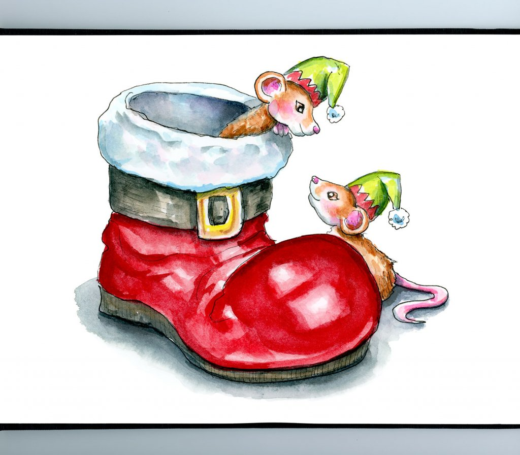Santa Boot Christmas Elf Mice Mouse Watercolor Illustration Painting Sketchbook Detail