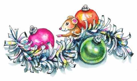 Tinsel Garland Shiny Silver Mouse Ornaments Christmas Watercolor Illustration Painting