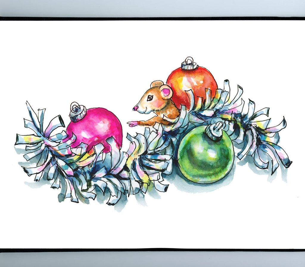 Tinsel Garland Shiny Silver Mouse Ornaments Christmas Watercolor Illustration Painting Sketchbook Detail
