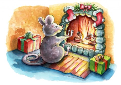Mouse Sitting By Fireplace Christmas Chidren's Book Watercolor Illustration Painting